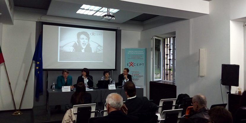 Photo from the EXCEPT conference in Sofia, 2016. From left to right is the Deputy Minister of Social Affairs and Labour in Bulgaria Deniza Sacheva, the Coordinator of Except Marge Unt (University of Tallinn), Bulgarian team member of Negotiate - Pepka Boyadjieva (Institute for the Study of Societies and Knowledge, at Bulgarian Academy of Sciences) and the Member of Except Project team - Michael Gebel (University of Bamberg).
