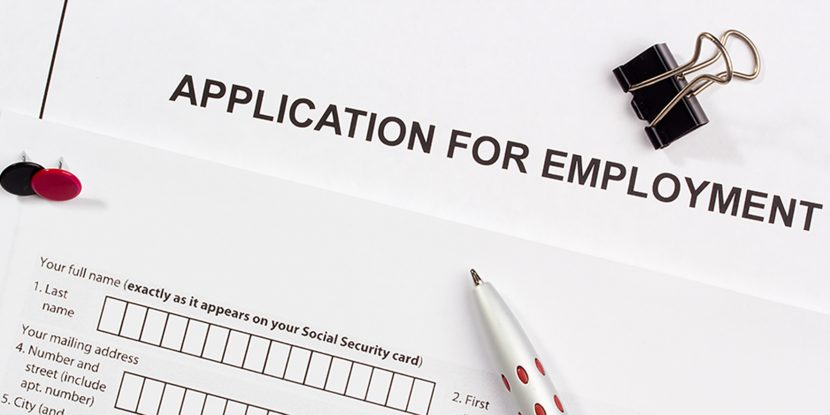 A picture of an application for employment