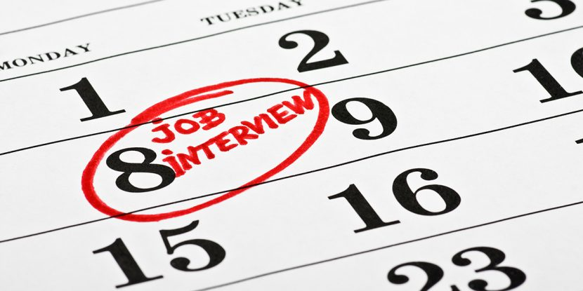 Excerpt from calender. Job interview in red writing on date. Photo: colourbox.com