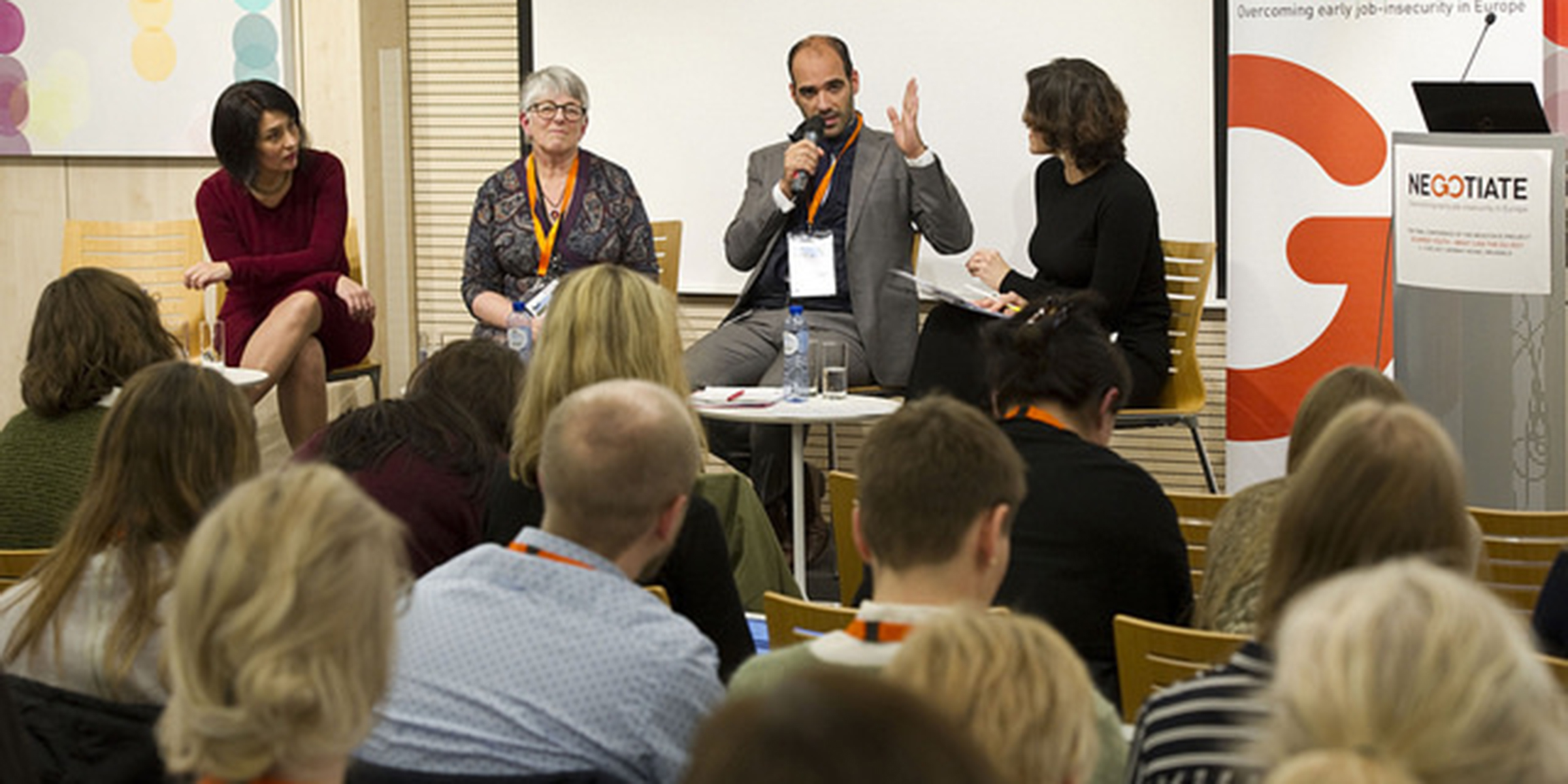 A panel consisting of Maria Symeonaki, Rodrigo Ballster and Julie Ward